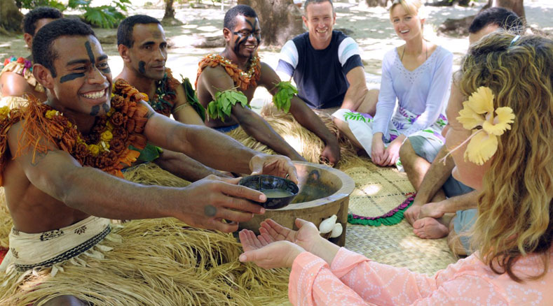 drinking traditional fiji kava